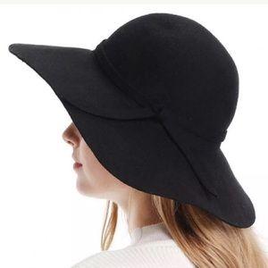 Wide Brim Wool Ribbon Band Floppy Hat